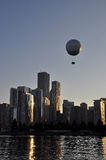 The baloon. Chicago from Michigan Lake. Summer evening. USA stock images