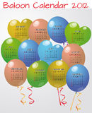 Baloon calendar 2012. Illustration of balloon calendar in english stock illustration