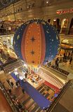 Baloon Christmas and New Year decorations in GUM department store, Moscow. Christmas and New Year preparations in GUM department store on Red Square, Moscow Royalty Free Stock Photo