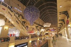 Baloon Christmas and New Year decorations in GUM department store, Moscow. Christmas and New Year preparations in GUM department store on Red Square, Moscow Stock Photos