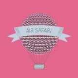 Baloon del aire de Zentangle Safari del aire Imagen de archivo libre de regalías