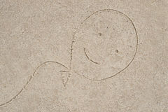 Baloon drawing in sand Royalty Free Stock Photography