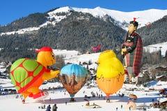 Baloon Festival am Chateau D'Oex, die Schweiz Lizenzfreie Stockbilder