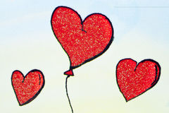 Baloon hearts. Three red baloon hearts on colorful background Royalty Free Stock Photography