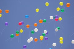 Baloon red blue yellow green 2. Baloon in sky Stock Photography