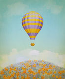 Baloon in the sky. Illustration Royalty Free Stock Photo