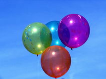 Baloon1. Baloons in Sky,Color, Sky, Clouds,Rubber products,Reflections, Round baloons stock photo