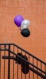 Baloons bianco e nero porpora Fotografie Stock Libere da Diritti