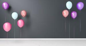 Baloons colorido de voo na sala vazia com espaço rendição 3d ilustração royalty free