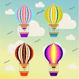 Baloons die in de hemel vliegen stock illustratie