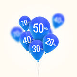 Baloons Discount. SALE concept for shop market store advertisement commerce. Market discount, blue baloon, sale balloons Stock Image