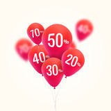 Baloons Discount. SALE concept for shop market store advertisement commerce. Market discount, red baloon, sale balloons. Vector business concept Stock Photo