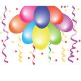Baloons e coriandoli illustrazione di stock