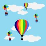 Baloons e presente do ar quente Fotografia de Stock