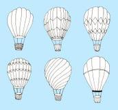 Baloons in för varm luft för hand ställde utdragna på blå bakgrund royaltyfri illustrationer