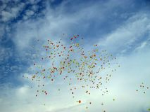 Baloons. Flying high in the sky trough cloud Royalty Free Stock Images