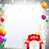 Baloons and Gift Box. Colorful party balloons with falling streamers and gift box Royalty Free Stock Images