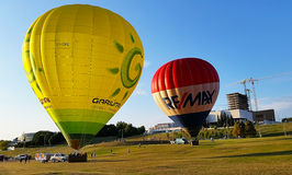 Baloons. Hot air baloons in Vilnius ready to fly Stock Image