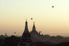 Baloons over Bagan temples in Myanmar (Burma) Stock Photo