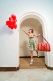 baloons pięknego serca kształtna kobieta Obrazy Royalty Free
