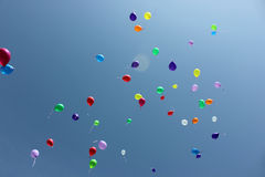 Baloons in the sky. Colored baloons in the blue sky stock image