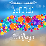 Baloons on the summer background with flares. Stock Images