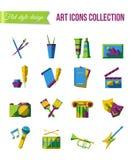 Baloons und Geschenke Satz flache Ikonen der Kunst, des Theaters und der Musik mit Szenen-, Malerei- und Schreibenssymbolen Lizenzfreie Stockfotos