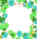 Baloons verdes com confetes do ouro e bandeiras no righr superior e deixadas ilustração stock