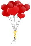 Baloons vermelhos do coração Imagens de Stock
