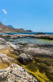 Balos海湾。克利特在Greece.Magical绿松石水域,盐水湖,纯净的白色沙子海滩中。 免版税库存图片
