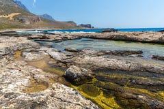 Balos海湾。从格拉姆武萨群岛海岛,克利特的看法在Greece.Magical绿松石水域,盐水湖,纯净的白色沙子海滩中。 免版税库存图片