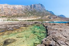 Balos海湾。从Gramvousa海岛,克利特的看法在Greece.Magical绿松石水域,盐水湖,纯净的白色沙子海滩中。 免版税库存照片