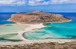 Balos海湾惊人的看法在克利特海岛,希腊上的 库存图片