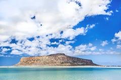Balos海湾惊人的看法在克利特海岛,希腊上的 免版税库存图片