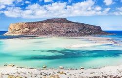 Balos海湾精采看法在克利特海岛,希腊上的 免版税库存照片