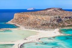 Balos海湾风景看法在克利特海岛,希腊上的 库存图片