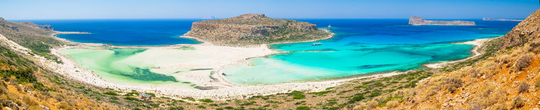 Balos海湾-克利特,希腊全景  库存照片