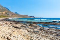 Balos海滩。从格拉姆武萨群岛海岛,克利特的看法在Greece.Magical绿松石水域,盐水湖中 库存照片