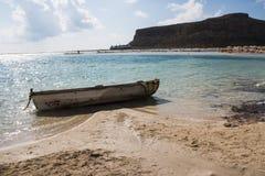 Balos海滩和盐水湖 免版税库存照片