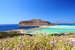 Balos盐水湖和Gramvousa海岛在克利特,希腊 库存照片