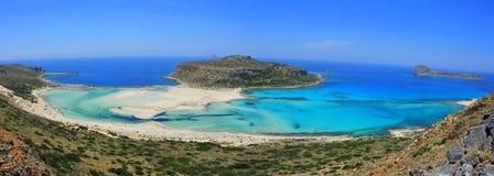 balos海湾全景克利特希腊的横向 库存照片
