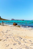 Balos bay, bridge and  Passenger Ship. Crete in Greece.Magical turquoise waters, lagoons, beaches of. Balos beach, bridge and  Passenger Ship. View from Royalty Free Stock Photos