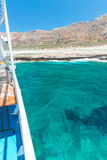 Balos bay and  Passenger Ship. View from Gramvousa Island, Crete in Greece. Balos beach and  Passenger Ship. View from Gramvousa Island, Crete in Greece.Magical Royalty Free Stock Photography