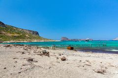 Balos beach, bridge and  Passenger Ship.Crete in Greece.Magical turquoise waters, lagoons, beaches of Stock Images