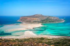 Balos beach and Gramvousa island near Kissamos in Crete Greece. Balos beach and Gramvousa island near Kissamos in Crete, Greece Stock Image