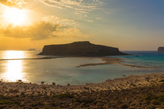 Balos beach and lagoon during sunset, Chania prefecture, West Crete, Greece Stock Photos
