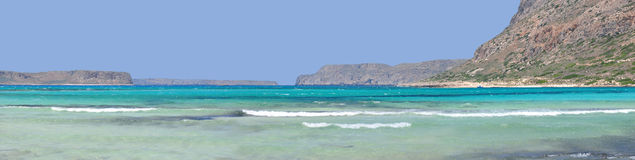 Balos Beach under a Mountain and a Blue Sea Stock Images