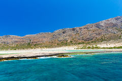 Balos beach. View from Gramvousa Island, Crete in Greece.Magical turquoise waters, lagoons, beache Royalty Free Stock Photo