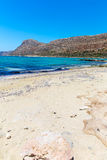 Balos beach. View from Gramvousa Island, Crete in Greece.Magical turquoise waters, lagoons, beache Royalty Free Stock Photos
