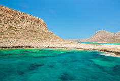 Balos beach. View from Gramvousa Island, Crete in Greece. Stock Photos